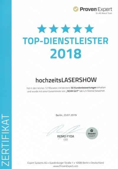 hochzeitsLASERSHOW ist TOP Dienstleister 2018